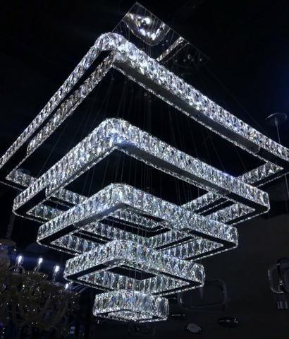 Lustre Pendente Cristal E Inox 5 Anéis Quadrado Faz 3 Cores
