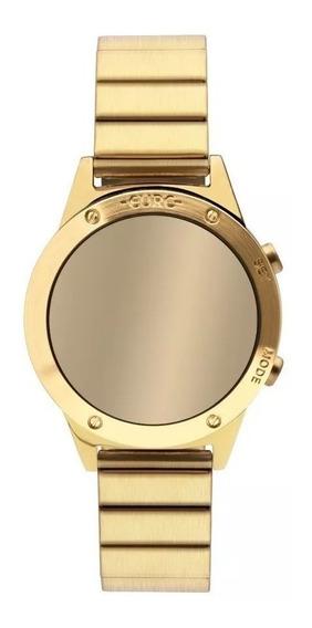 Relogio Digital Espelhado Feminino Dourado Euro Sabrina Sato