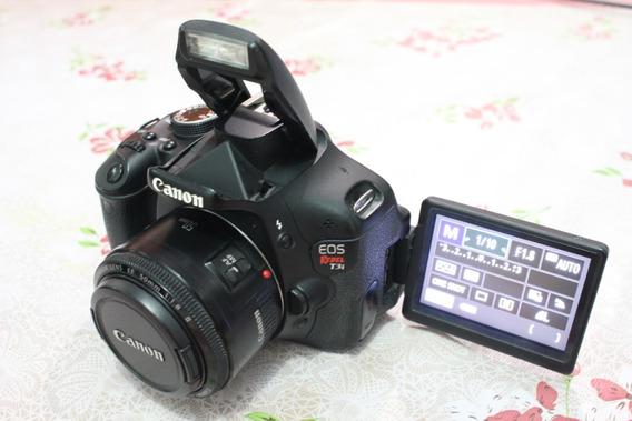 Canon T3i Com Lente 50mm 1.8 Frete Grátis
