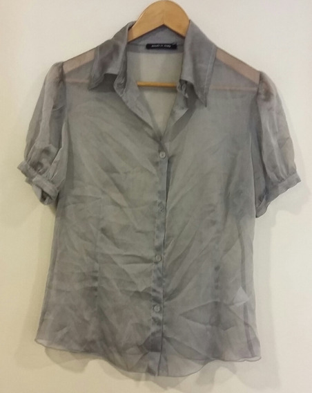 Camisa Gris Con Transparencias Made In Italy Talle L