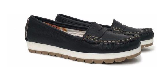 Zapato Mocasin Chatita Mujer Cuero Base Cosida