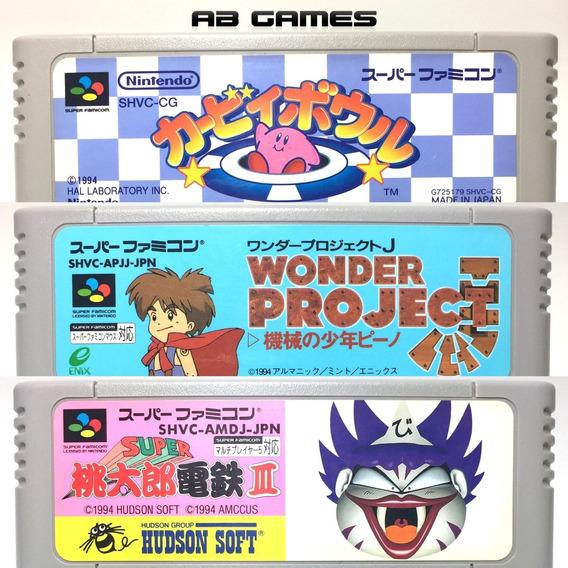 Super Famicom Lote Kirby Bowl Wonder Project J Momotarou 3
