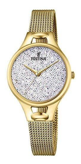 Festina Watch Mademoiselle Hembra Con Cristales Ip Gold F203