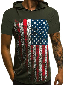 Camiseta Con Capucha Bandera Americana De Impresión