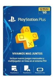 Playstation Plus 1 Año Plus 12 Meses Ps4 Psn Codigo American