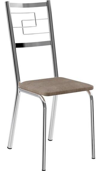 Conjunto 2 Cadeiras Aço Cromado Revestimento Em Camurça - Carraro 1722