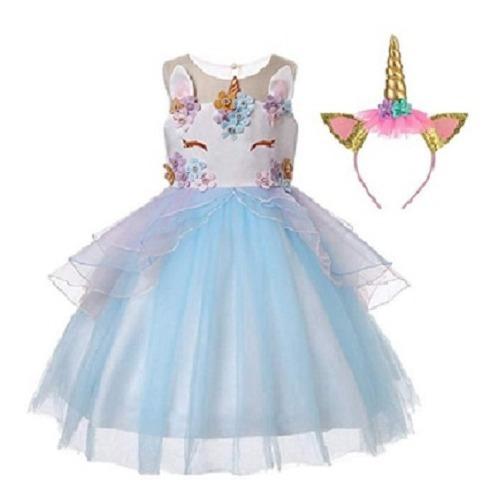Vestido De Unicornio + Diadema De Unicornio + Envio Gratis