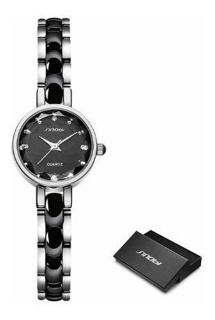 Relógio Feminino Mostrador Pequeno 3atm - Preto Prata