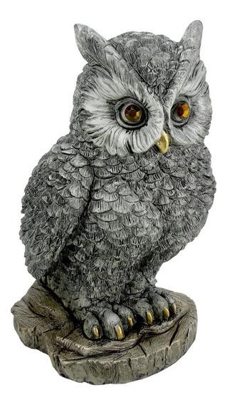 Coruja Na Rocha Estatueta 26,5 Cm -sabedoria- Espanta Pombo