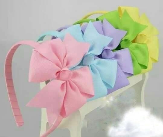 Diadema Con Moño Para Niñas En Tonos Pastel