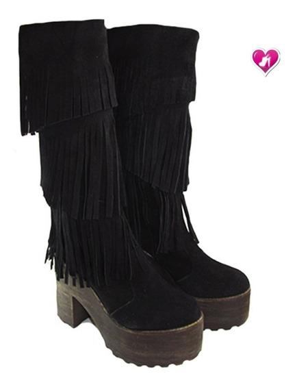 Botas De Cuero Gamuza Con Fleco Modelo Ricky De Shoes Bayres