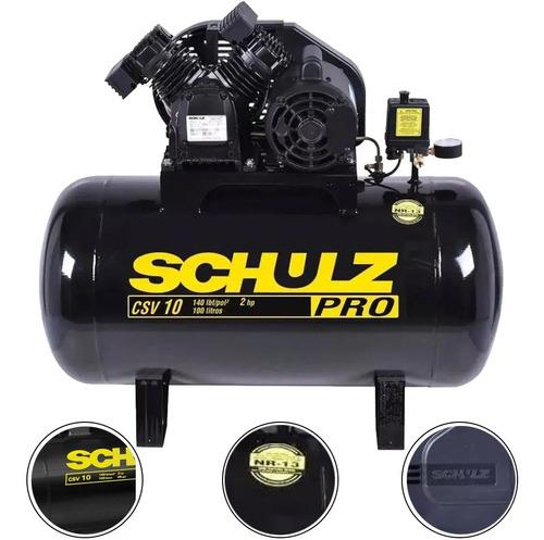 Imagem 1 de 6 de Compressor De Ar 10 Pés 100 L 140 Lb Csv-10/100 Profi Schulz