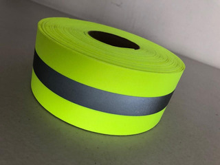 Cinta Reflejante Textil Plastificada 10 Metros 5cm Amarillo
