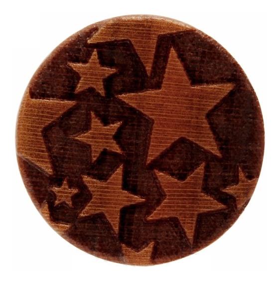 Par Alargador Plug Madeira Artesanal Estrelas 18,20,22,25mm
