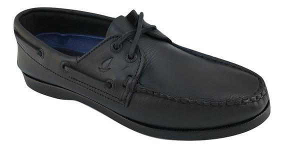 Zapato Casual Nautico Top Sailer 301 Hombre Piel Negro