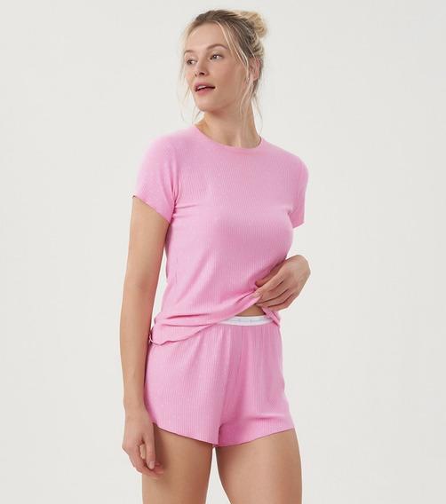 Pijama Short Doll Rosa Poá Corações Fofo Cor Com Amor