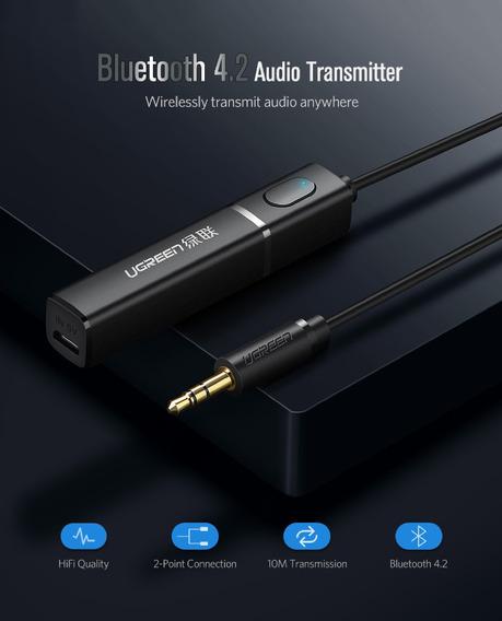 Transmissor Bluetooth 4.2 2 Fones Tv Pc Aptx Ugreen Novo K