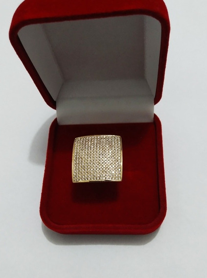 Anel Quadrado Grande Zircônia Cravejado Ouro 18k Polido