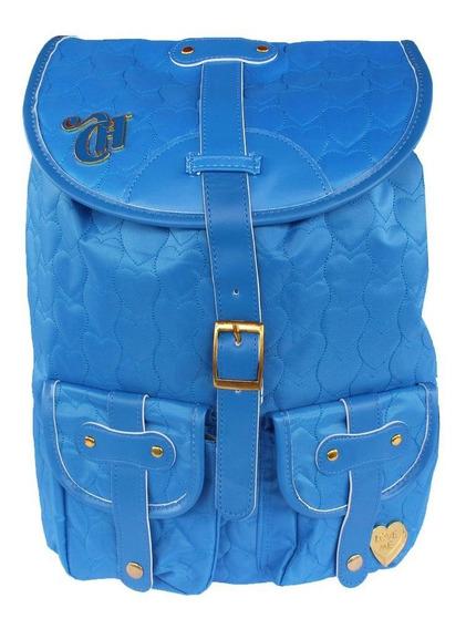 Kit Mochila Capricho Love Blue Azul + Carteira Feminina