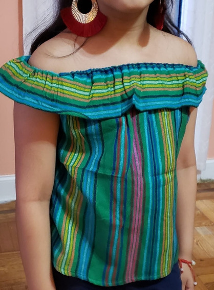 Blusa Mexicana Niña Al Hombro Tipo Campesina Talla 6
