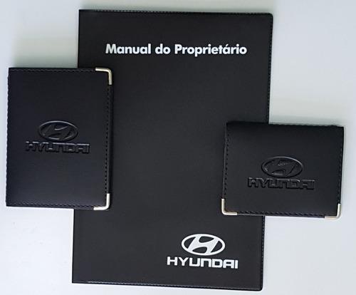 Imagem 1 de 6 de Kit Porta Manual Pvc+ Porta Doc.+ P Cartão Couro Eco Hyundai