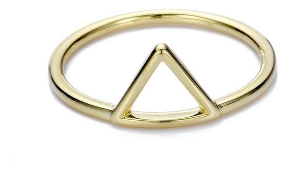 Eskaparate Anillo Triángulo Plata .925 Con Baño De Oro 18k