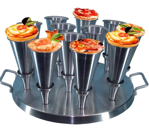 Imagem 1 de 5 de Forma Para Pizza Cone 14cm Alumínio 12 Pizzas Gastrobel