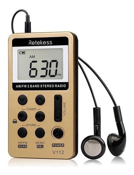 Rádio Bolso Portátil Digital Fm Am Retekess V112 C/fone