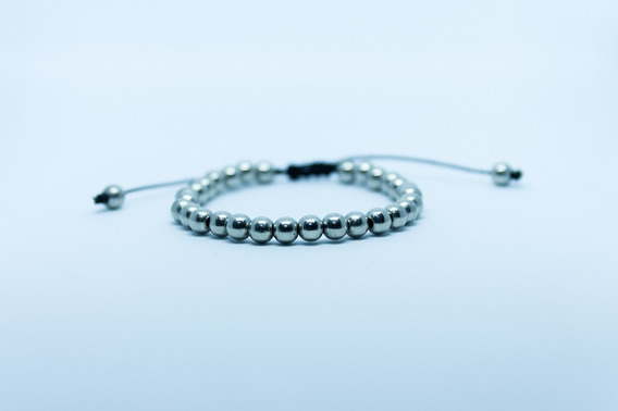 Pulseira Bracelete Masculino Feminino Ajustável Ráfia Prata