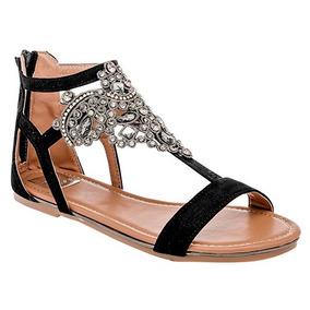 Sandalia Huarache Zapato Negro Pedreria Scd80203
