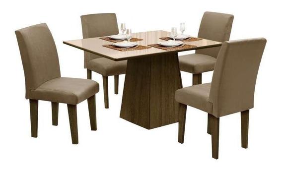 Mesa Para Sala De Jantar Com 4 Cadeiras Florença Dôbue