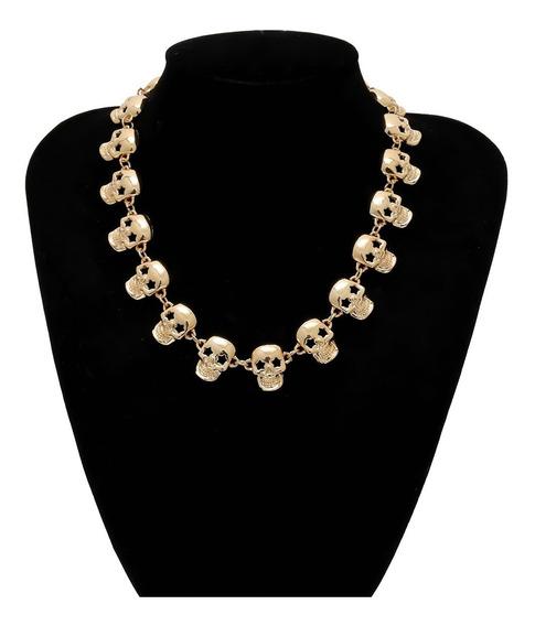 Collar Dama Calaveras Rock Craneos Skull Catrina Estrellas