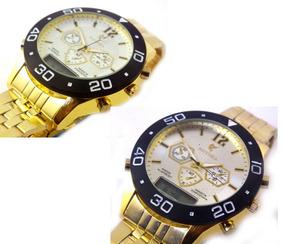 Relógio De Pulso Masculino Potenzia Dourado Metal Cores