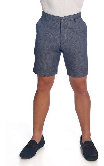 Abito Pantalón De Lino Azul Mod. Básico Slim, 100% Lino