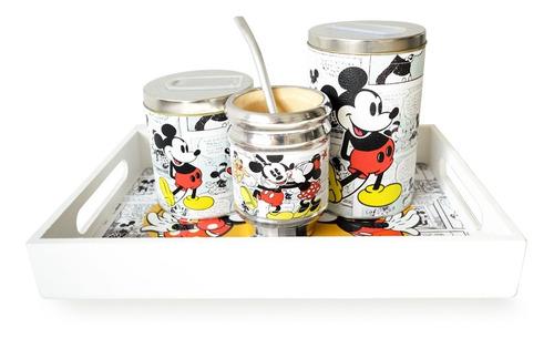 Imagen 1 de 5 de Kit Bandeja Desayuno Mate Yerbera Y Azucarera Mickey Minnie