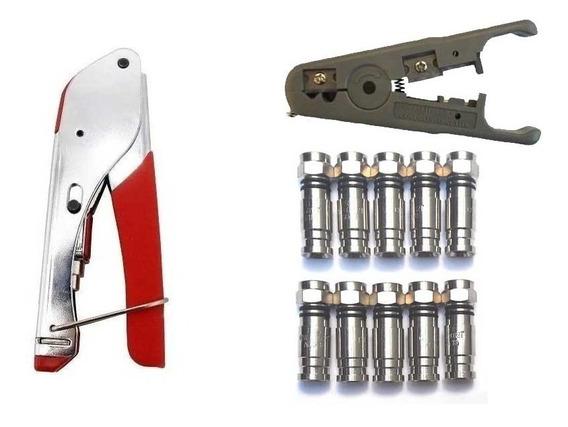 Alicate Compressão Rg6 Decapador E 10 Conector Para Cabo Tv