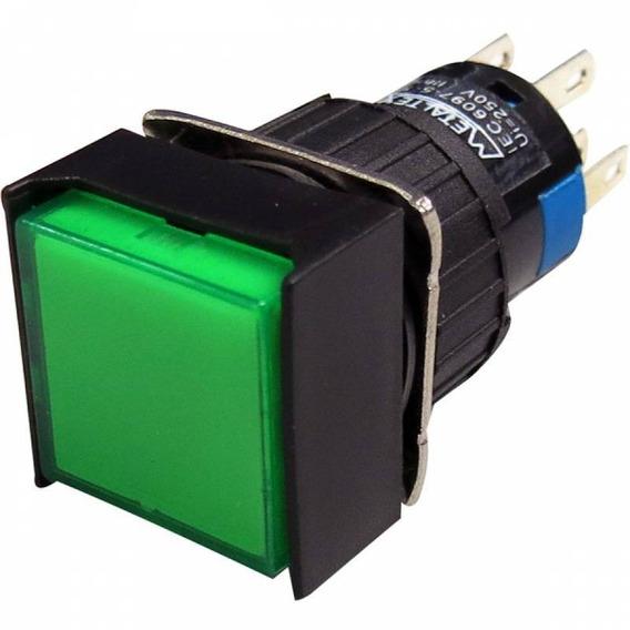 Pulsador Iluminado 16mm Quadrado C/ Retenção - Verde 220v -2