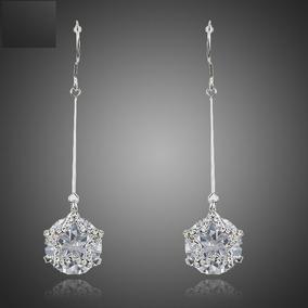Brinco Feminino Formato De Diamante Em Zircônia Com Strass