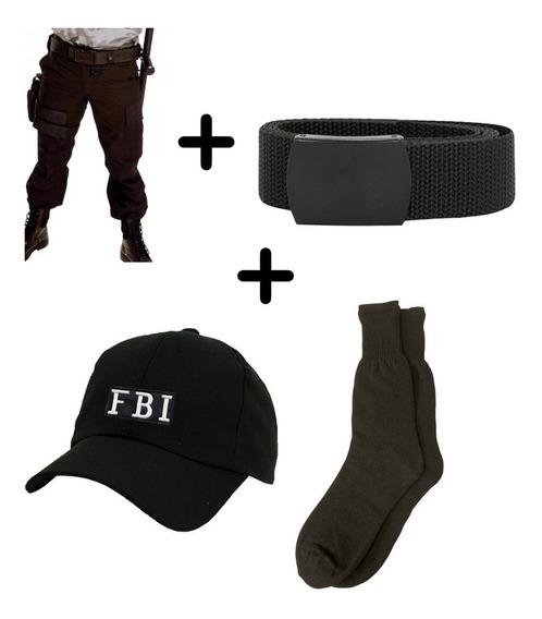 Kit Boné Fbi Meia Preta Cinto Calça Tática Militar