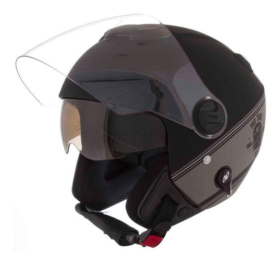 Capacete Moto New Atomic Skull Riders Prata Com Preto Fosco