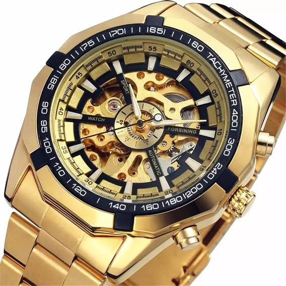 Relógio Winner Forsining Mecânico Automático Dourado
