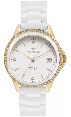 Relógio Feminino Technos 2315kzs/4b Ceramica Branca
