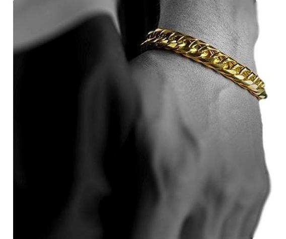 Esclava Pulso Gruesa 1cm Para Hombre Oro Laminado 18k