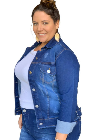 Jaqueta Jeans Plus Size Azul Feminina Com Lycra 46 Ao 52.