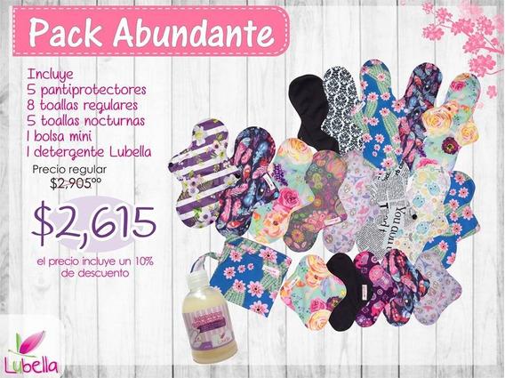 Pack Abundante Lubella Toallas Femeninas Tela Ecológicas
