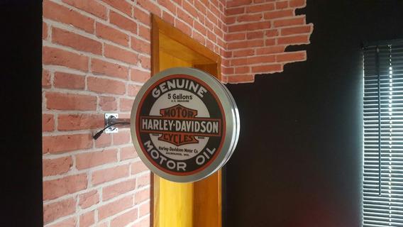 Luminoso Dupla Face Harley Davidson Aço Bar