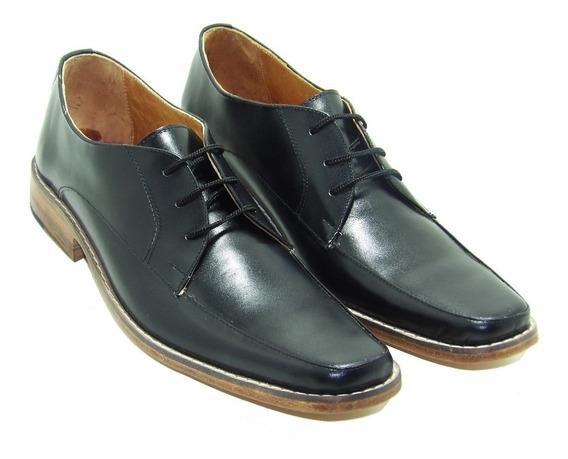 Zapato Negro De Cuero Suela Hombre - Calzados Union - 076