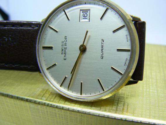 Relógio Swiss Unixex Emperor Quartz Banho De Ouro