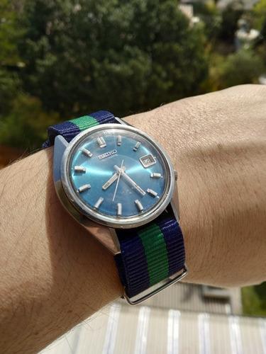 Espetacular Seiko 7009-8590-p Azul Met. Automático 17 Jewels