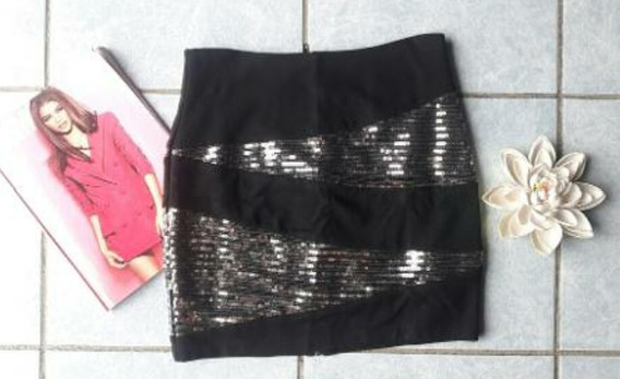 Falda Negra Con Lentejuelas
